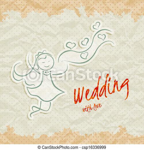 美しい, 花嫁, 招待, カード, 結婚式 - csp16336999