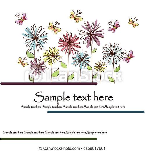 美しい, 花, カード - csp9817661