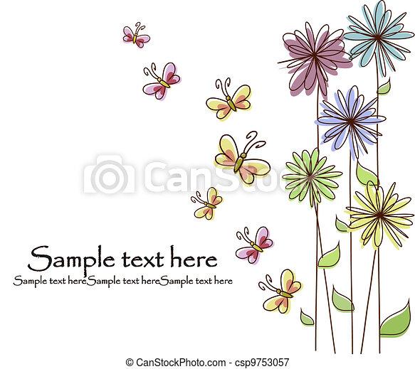 美しい, 花, カード - csp9753057