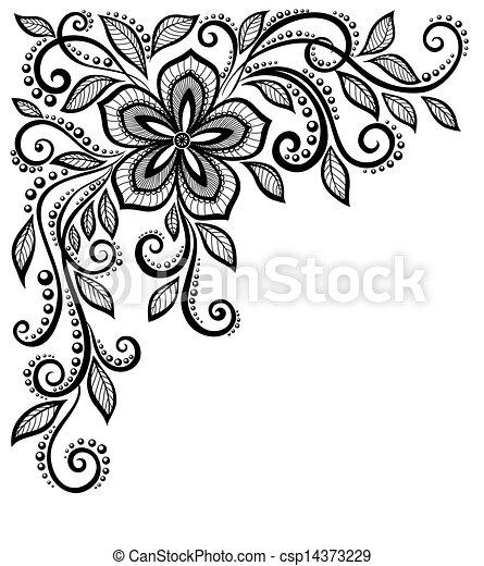 美しい, 花, レース, スペース, テキスト, 白黒, corner., 挨拶, あなたの - csp14373229