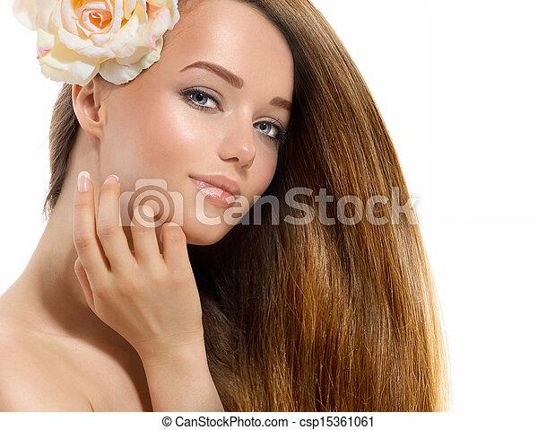 美しい, 花, 彼女, 美しさ, バラ, 顔, girl., 感動的である, モデル - csp15361061