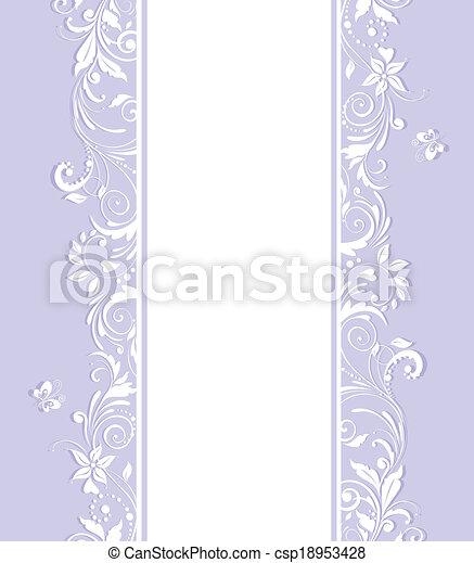 美しい, 花, 青, 招待 - csp18953428