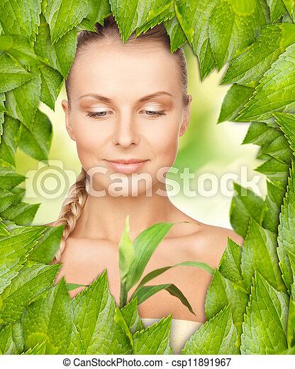美しい, 葉, 女, 緑 - csp11891967