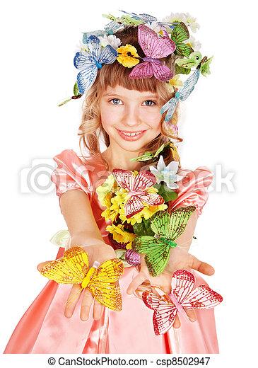 美しい, 蝶, 女の子, flower. - csp8502947
