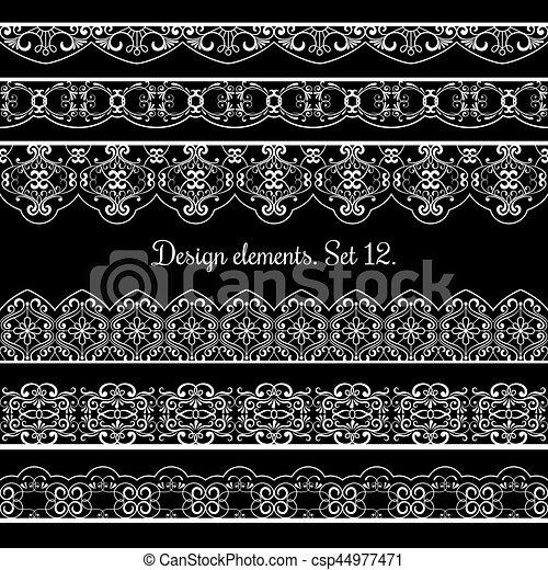 美しい, 要素, set., 花, ベクトル, デザイン, カード, ボーダー, フレーム - csp44977471
