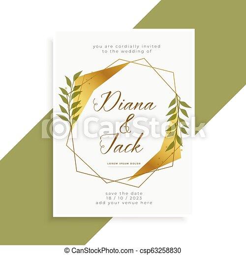 美しい, 金, 結婚式, デザイン, 招待, カード - csp63258830