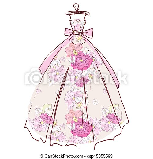 美しい, 隔離された, 結婚式, 白いドレス, デザイン