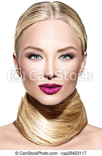 美しい, 魅力, 女, まっすぐに, 長い髪, ブロンド - csp29423117