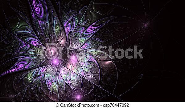 美しい, flower., ファンタジー, フラクタル, バックグラウンド。, 芸術的, 光沢がある, 未来派 - csp70447092