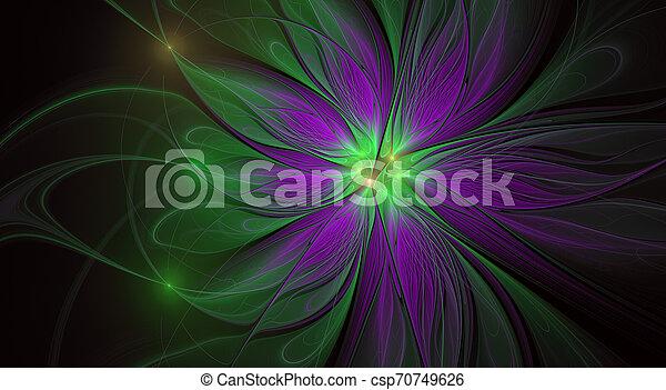 美しい, flower., ファンタジー, フラクタル, バックグラウンド。, 芸術的, 光沢がある, 未来派 - csp70749626
