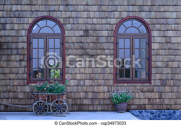 美しい, garden., 窓, 型, 壁, 小さい, 木製である - csp34973033