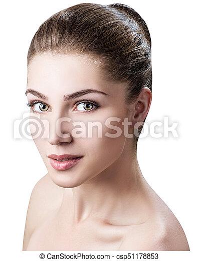 美しい, skin., 女, 若い, きれいにしなさい - csp51178853