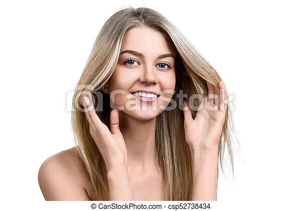美しい, skin., 女, 若い, きれいにしなさい - csp52738434