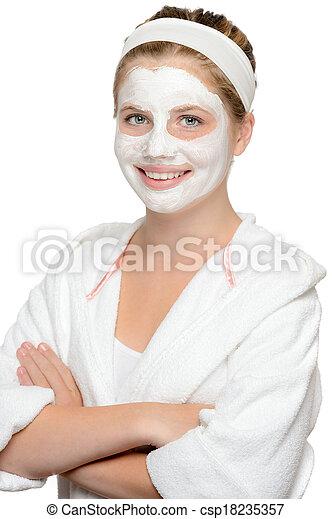 美しさマスク, 若い, 待つこと, 美顔術, 微笑の女の子 - csp18235357