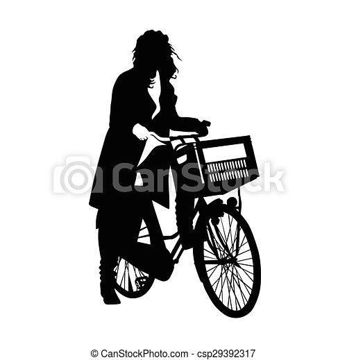 美丽, 女孩, 矢量, 自行车 - csp29392317