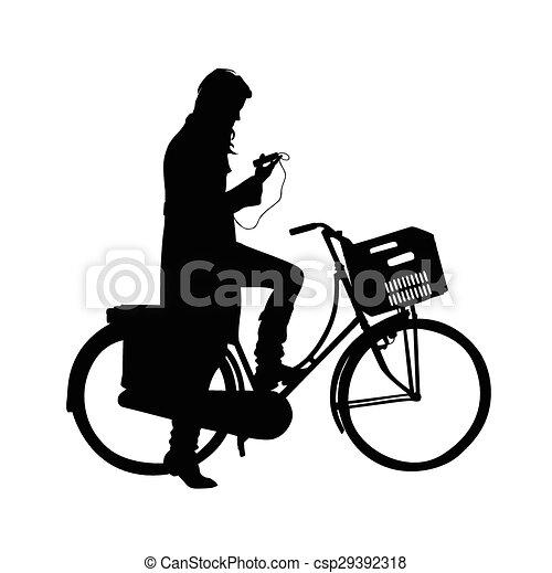 美丽, 女孩, 矢量, 自行车 - csp29392318