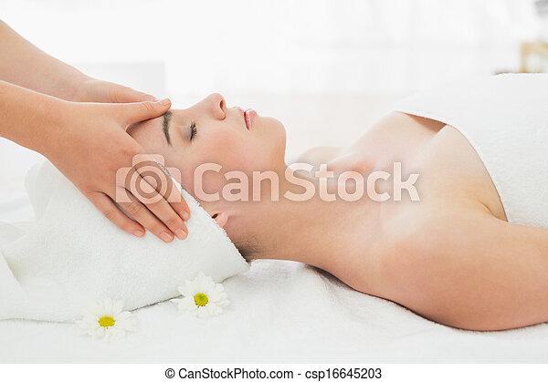美丽, 妇女` s, 脸, 手, spa, 按摩 - csp16645203