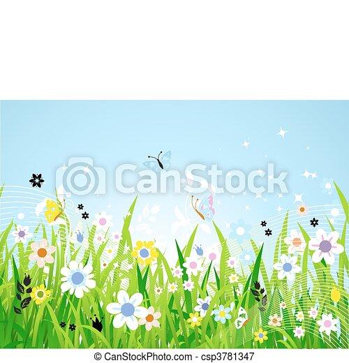 美丽, 春天, 草地 - csp3781347