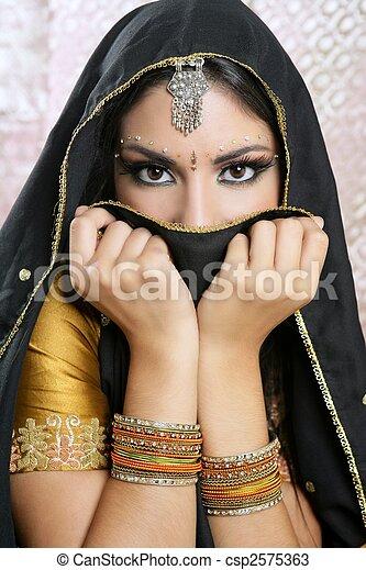 美丽, 浅黑型, 脸, 黑色, 亚洲的女孩, 面纱 - csp2575363