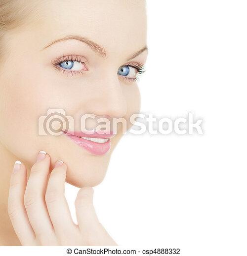 美丽, 隔离, 脸, 背景, 女孩, 白色 - csp4888332