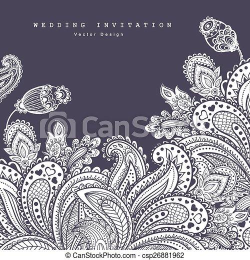 美丽, c, ornament., 问候, invitation., 独立经营电影院, 婚礼, 植物群 - csp26881962