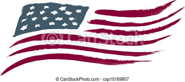 美國人, 拉過絨, 旗, 美國 - csp10169807