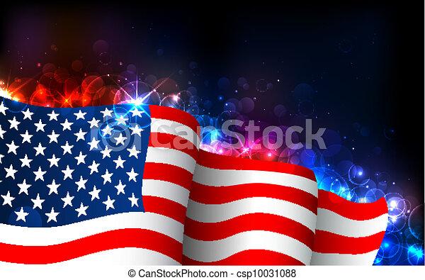 美國人, 發光, 旗 - csp10031088
