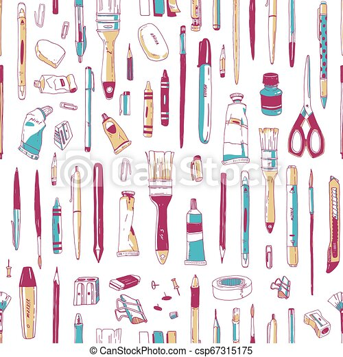 美術ツール, スタイル, 生地, バックグラウンド。, 型, seamless, 道具, 執筆, 文房具, 供給, 白, 包むこと, イラスト, 手, 引かれる, print., 芸術家, ペーパー, 現実的, ベクトル, パターン, ∥あるいは∥ - csp67315175