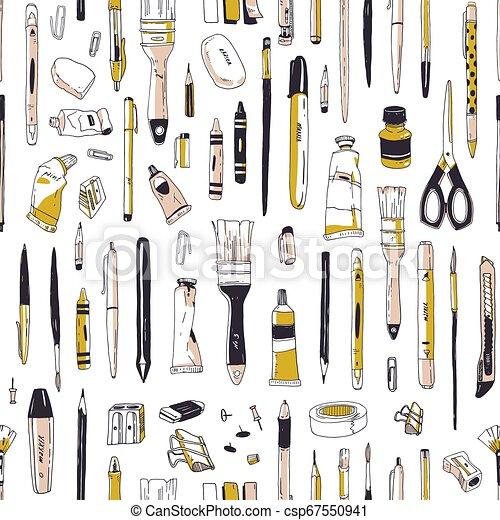 美術ツール, スタイル, 生地, バックグラウンド。, 型, seamless, 道具, 執筆, 文房具, 供給, 白, 包むこと, イラスト, 手, 引かれる, print., ペーパー, ∥あるいは∥, 現実的, ベクトル, パターン, 図画 - csp67550941