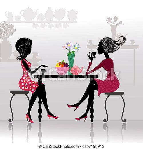 美麗的女孩, 咖啡館, 黑色半面畫像 - csp7198912