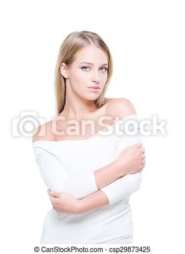 美麗的婦女, 年輕, 被隔离, 背景。, 純淨, 皮膚, 誘人 - csp29873425