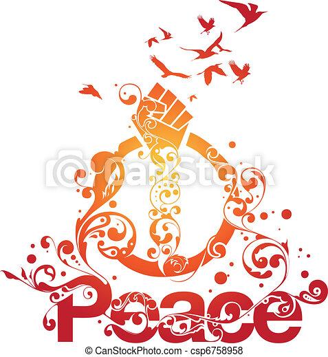 美麗, 和平, 矢量 - csp6758958