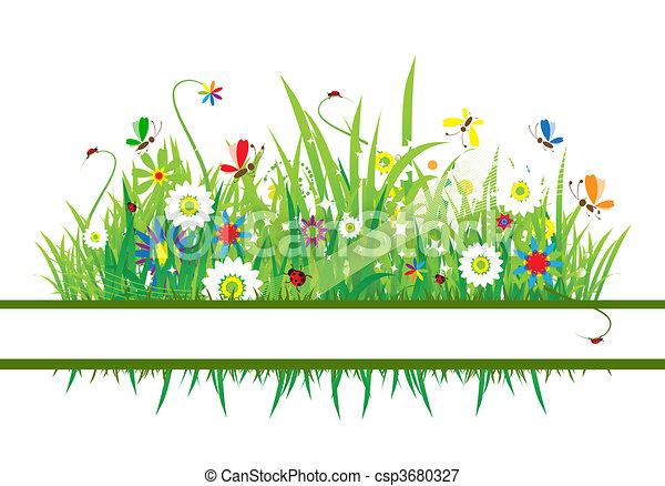 美麗, 夏天, 草地 - csp3680327