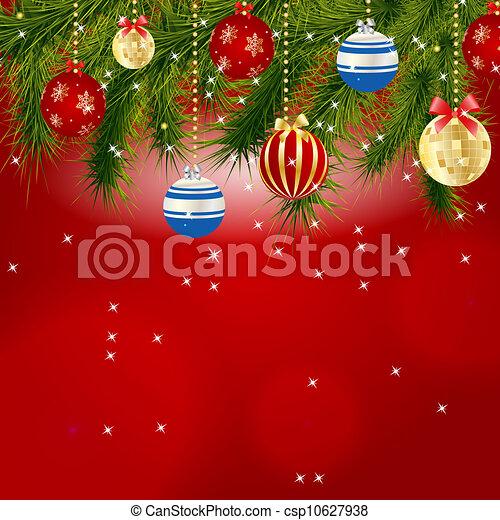 美麗, 摘要, 插圖, 背景。, 矢量, 年, 新, 聖誕節 - csp10627938