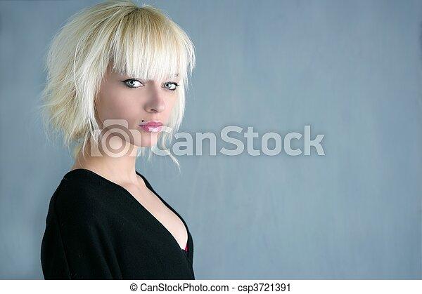 美麗, 灰色, 時裝, 背景, 白膚金髮, 女孩 - csp3721391