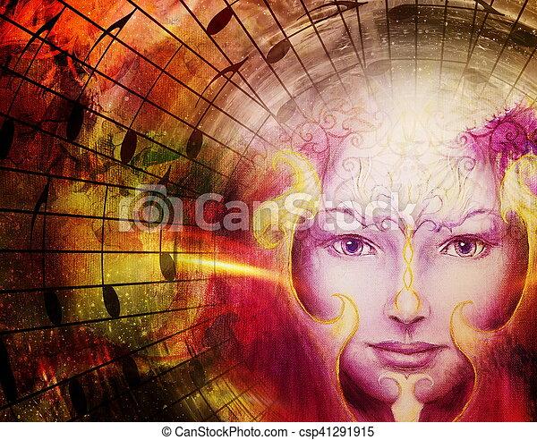 美麗, 神秘, 頭, 長生鳥, 注釋, 是, 符號, 沉思, 臉, 音樂, space., 簽署, 鳥 - csp41291915