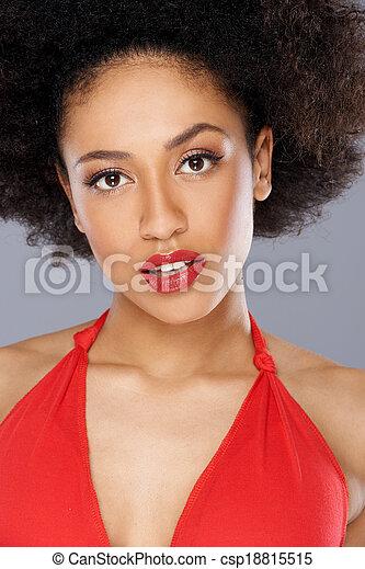 美麗, 美國人, 誘人, 非洲的婦女 - csp18815515