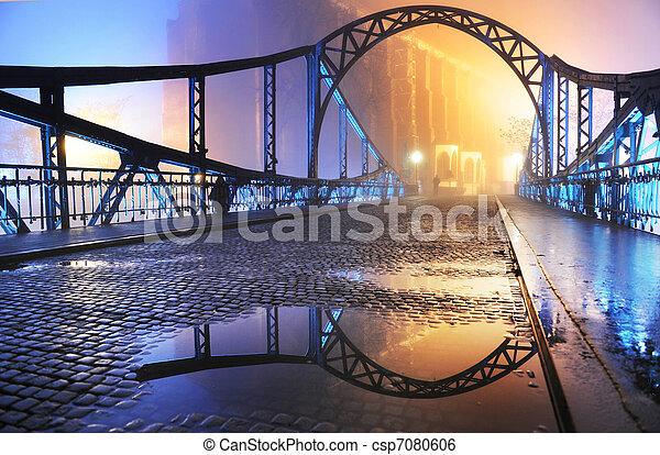 美麗, 鎮, 舊的橋, 夜晚, 看法 - csp7080606