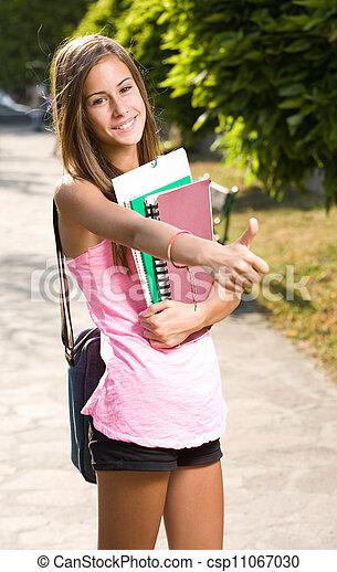 美麗, 青少年, 大, 向上, 拇指, student. - csp11067030