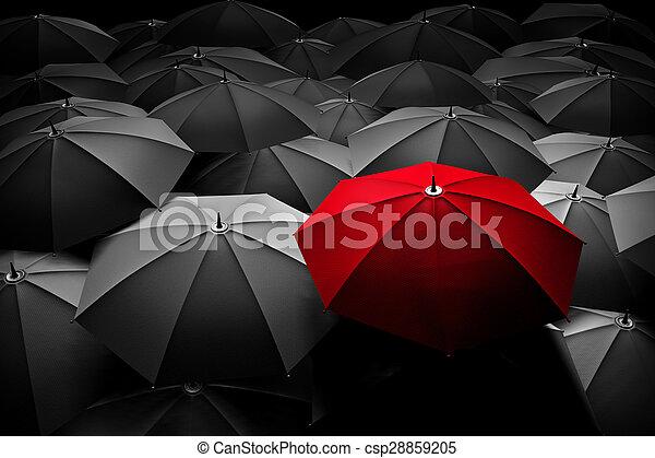 群集。, 傘, 別, 立ちなさい, leader., 赤, から - csp28859205