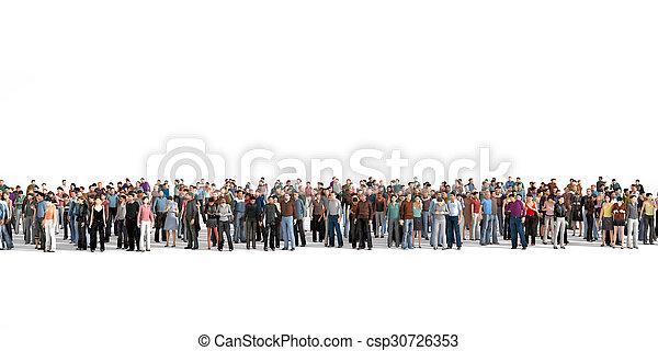 群集。, 群集, 人々, 滞在, 大きい, バックグラウンド。, 白いライン - csp30726353