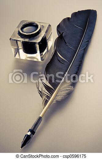 羽の ペン, インク - csp0596175