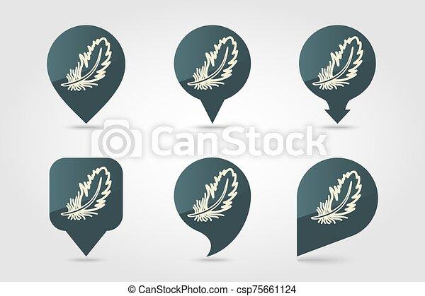 羽, アイコン, ピン, 地図, ベクトル - csp75661124