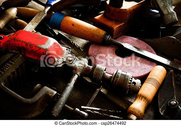 老, 工作, 木制, 很多, 鑿子, 統治者, 背景。, 操練, (, 工具, others) - csp26474492