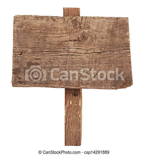 老, 木制, 标志。, 隔离, 签署, 树木, white., 要点 - csp14291889