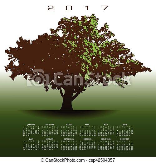 老, 橡樹, 大, 2017, 日曆, 光榮 - csp42504357