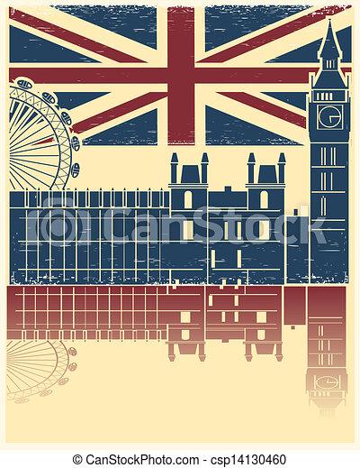 老, 葡萄酒, 結構, 旗, 矢量, 倫敦, 背景, 海報, england - csp14130460