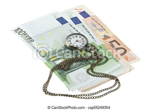 老, 观看, 现金, 隔离, 口袋, 背景, 白色 - csp55249354