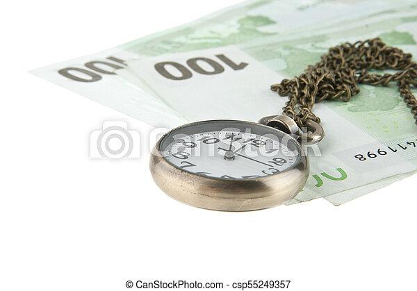老, 观看, 现金, 隔离, 口袋, 背景, 白色 - csp55249357