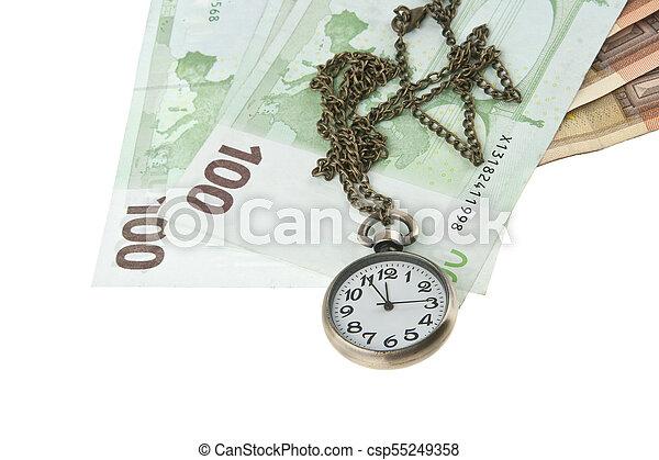 老, 观看, 现金, 隔离, 口袋, 背景, 白色 - csp55249358